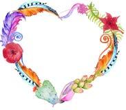 Plantes succulentes, cactus, fleurs rouges, feuilles de vert et plumes sous forme de coeur Image libre de droits