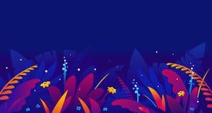 Plantes tropicales exotiques dans la nuit de jungle illustration de vecteur