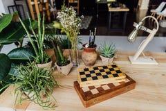 Plantes vertes dans des pots avec des échiquiers et la rétro lampe sur la table Image libre de droits