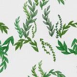 Plantes vertes sur la toile blanche Texture sans joint de tissu Photographie stock