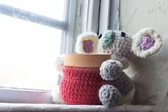 Planteur fait main de koala de crochet Photos stock