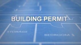 Plantext auf zeichnender Architekturreihe - Baugenehmigung lizenzfreie abbildung