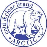 Plantilla ártica del icono del logotipo con el oso polar blanco enmarcado en círculo Imagenes de archivo