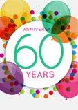 Plantilla 60 años de enhorabuena del aniversario, tarjeta de felicitación, ejemplo del vector de la invitación libre illustration