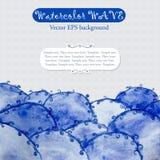 Plantilla abstracta con las ondas azules de la acuarela stock de ilustración