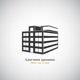 Plantilla abstracta del diseño del logotipo del vector de la silueta del edificio de la arquitectura Icono del tema del negocio d
