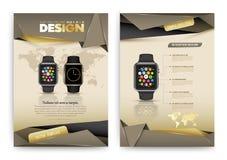 Plantilla abstracta del folleto del vector con el reloj elegante stock de ilustración