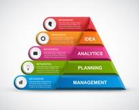 Plantilla abstracta del infographics de las opciones de la pirámide 3D para las presentaciones o el folleto informativo Foto de archivo