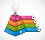 Plantilla abstracta del infographics de las opciones de la pirámide 3D para las presentaciones o el folleto informativo Fotos de archivo libres de regalías