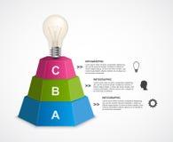 Plantilla abstracta del infographics de las opciones de la pirámide 3D para las presentaciones o el folleto informativo Imagen de archivo