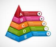 Plantilla abstracta del infographics de las opciones de la pirámide 3D para las presentaciones o el folleto informativo Foto de archivo libre de regalías