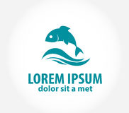 Plantilla abstracta del logotipo del diseño del vector de los pescados Imágenes de archivo libres de regalías