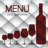 Plantilla abstracta del menú del vino Fotografía de archivo libre de regalías