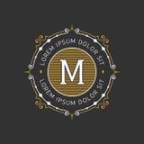 Plantilla agraciada elegante del emblema del monograma Ilustración del vector Fotografía de archivo libre de regalías