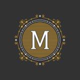 Plantilla agraciada elegante del emblema del monograma Ilustración del vector Fotos de archivo libres de regalías