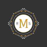 Plantilla agraciada elegante del emblema del monograma Ilustración del vector Imagen de archivo