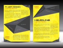 Plantilla amarilla de la disposición de diseño del aviador del folleto, tamaño A4, página delantera y página de la parte posterio Foto de archivo libre de regalías