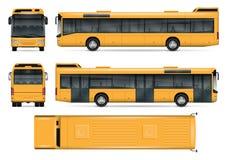 Plantilla amarilla del vector del autobús Imagen de archivo libre de regalías