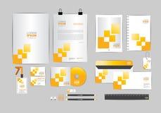 Plantilla amarilla y gris de la identidad corporativa para su negocio Imagen de archivo