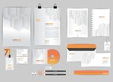 Plantilla anaranjada y gris de la identidad corporativa para su negocio Fotos de archivo