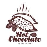 Plantilla asada del logotipo de los granos de cacao Fotografía de archivo libre de regalías