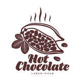 Plantilla asada del logotipo de los granos de cacao Fotos de archivo
