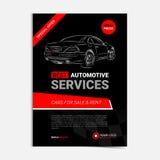 Plantilla automotriz de la disposición de los servicios, coches para la venta y folleto del alquiler, aviador de la maqueta Fotografía de archivo