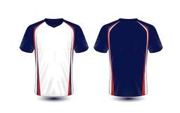 Plantilla azul, blanca y roja del diseño de la camiseta del e-deporte de la disposición ilustración del vector