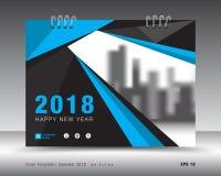 Plantilla azul 2018, cubierta del calendario de la cubierta del folleto stock de ilustración