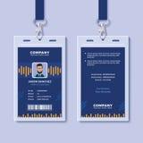 Plantilla azul de la tarjeta de la identificación con los gráficos amarillos libre illustration