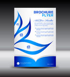 Plantilla azul del aviador del folleto, diseño del hoja informativa, plantilla del prospecto Fotografía de archivo