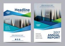 Plantilla azul del diseño del aviador del informe anual del folleto Foto de archivo libre de regalías