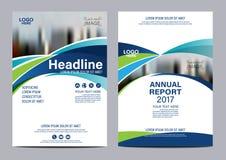 Plantilla azul del diseño del aviador del informe anual del folleto Imagen de archivo