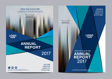 Plantilla azul del diseño del aviador del informe anual del folleto Imágenes de archivo libres de regalías
