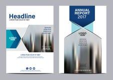 Plantilla azul del diseño del aviador del informe anual del folleto Fotos de archivo