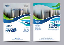 Plantilla azul del diseño del aviador del informe anual del folleto Foto de archivo