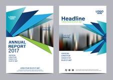 Plantilla azul del diseño del aviador del informe anual del folleto Fotos de archivo libres de regalías