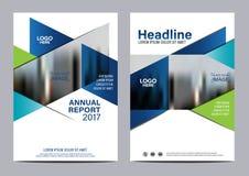 Plantilla azul del diseño del aviador del informe anual del folleto Fotografía de archivo