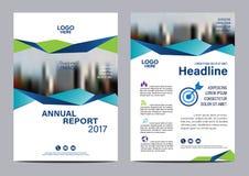 Plantilla azul del diseño del aviador del informe anual del folleto Imagen de archivo libre de regalías