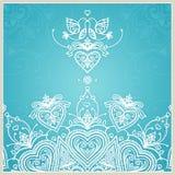 Plantilla azul del diseño de la invitación de la boda con las palomas, corazones Fotografía de archivo libre de regalías