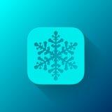 Plantilla azul del icono del App del extracto con el copo de nieve Imágenes de archivo libres de regalías
