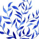 Plantilla azul del modelo de la hoja de la acuarela del gzhel del vector Fotografía de archivo libre de regalías