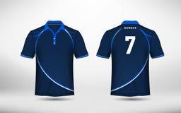 Plantilla azul y blanca del diseño de la camiseta del e-deporte de la disposición stock de ilustración
