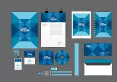 Plantilla azul y cuadrada de la identidad corporativa para su negocio Imagen de archivo