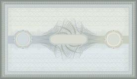 Certificado azulverde del guilloquis del vale Fotos de archivo libres de regalías