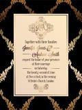Plantilla barroca de la tarjeta de la invitación de la boda del estilo del vintage Fotografía de archivo