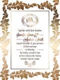 Plantilla barroca de la tarjeta de la invitación de la boda del estilo del vintage Foto de archivo libre de regalías