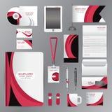 Plantilla blanca de la identidad con la compañía rosada del elementsVector de la papiroflexia Imagen de archivo libre de regalías
