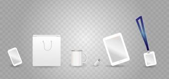 Plantilla blanca del vector de la maqueta para la identidad corporativa con la tableta, smartphone, memoria USB, paquete, insigni Fotos de archivo