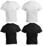 Plantilla blanco y negro en blanco de la camisa de los hombres imagenes de archivo
